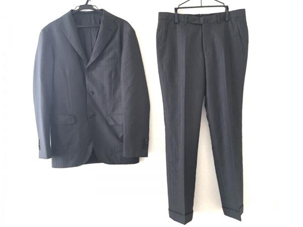 リングジャケット シングルスーツ サイズ44 L メンズ ダークグレー×黒 ストライプ