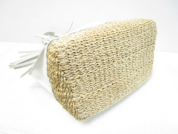 ガリャルダガランテ トートバッグ 白×ベージュ フリンジ レザー×天然繊維