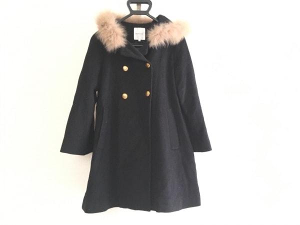 Bon mercerie(ボンメルスリー) コート サイズ38 M レディース 黒 ファー/冬物