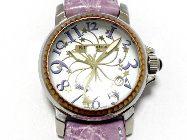 Ritmo Latino(リトモラティーノ) 腕時計美品  - レディース クロコダイルベルト 白