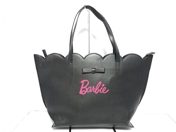 Barbie(バービー) トートバッグ 黒×ピンク 合皮
