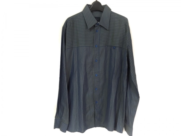 ヴェルサーチジーンズ 長袖シャツ サイズXL メンズ新品同様  ボーダー/ストライプ