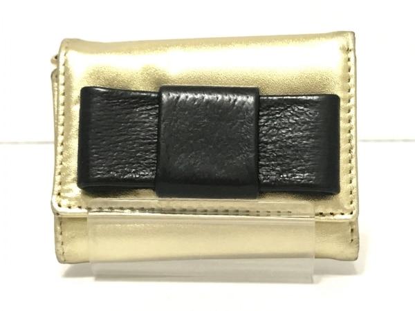 BECKER(ベッカー) 3つ折り財布 ゴールド×黒 リボン レザー