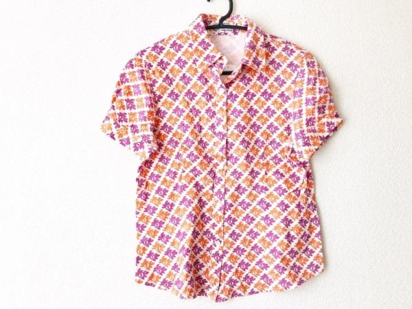 ピッコーネ 半袖シャツブラウス サイズ10 L レディース美品  白×オレンジ×パープル