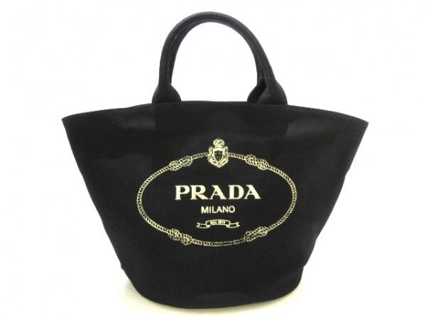 PRADA(プラダ) トートバッグ美品  CANAPA 黒×アイボリー キャンバス