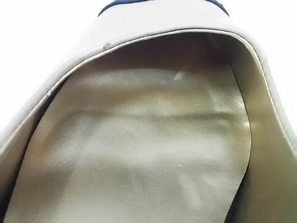ボアソン ショコラ パンプス 22.5 レディース ベージュ×黒 リボン レザー×ベロア