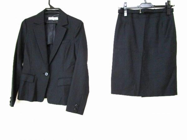ナチュラルビューティー ベーシック スカートスーツ レディース 黒×ブルー
