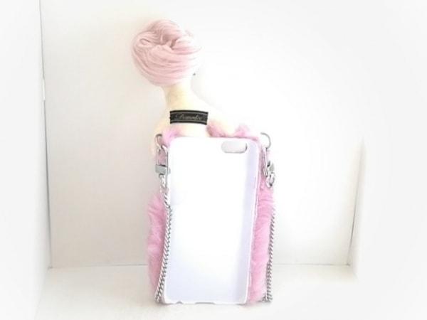 デモデ 携帯電話ケース ピンク×アイボリー フェイクファー×コットン×プラスチック