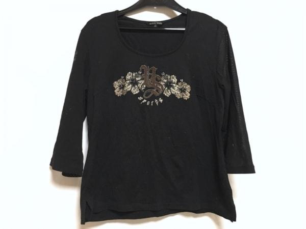 バレンザスポーツ Tシャツ サイズ40 M レディース 黒×ダークグレー×マルチ
