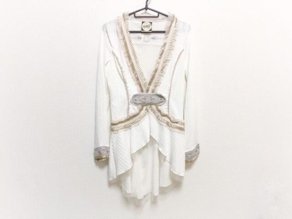 OZZ ANGELO(オッズ アンジェロ) カーディガン レディース美品  白×ベージュ ロング丈