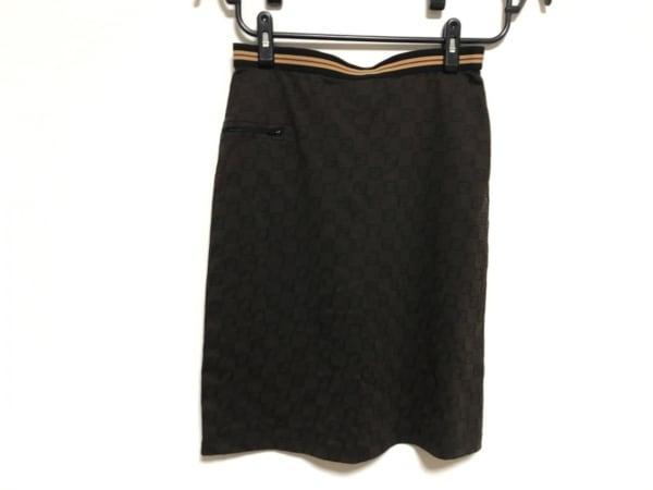 フェンディ スカート サイズ42 M レディース美品  ズッカ柄 ダークブラウン×黒