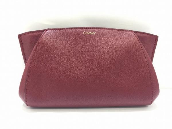 Cartier(カルティエ) ポーチ美品  - ボルドー レザー