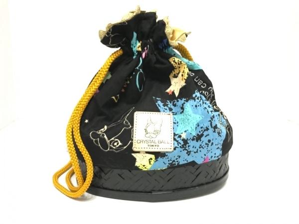 CRYSTAL BALL(クリスタルボール) 小物入れ美品  黒×ライトブルー×マルチ 巾着袋