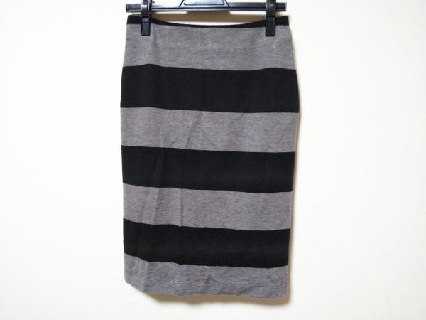 MACPHEE(マカフィ) スカート サイズ38 M レディース美品  グレー×黒 ボーダー