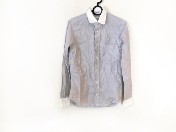 インディビジュアライズドシャツ 長袖シャツ サイズ30 メンズ 白×黒 ストライプ