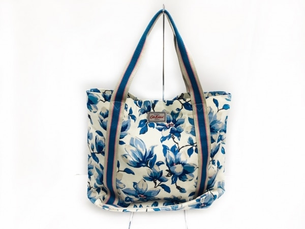 Cath Kidston(キャスキッドソン) トートバッグ 白×ブルー×マルチ 花柄 キャンバス