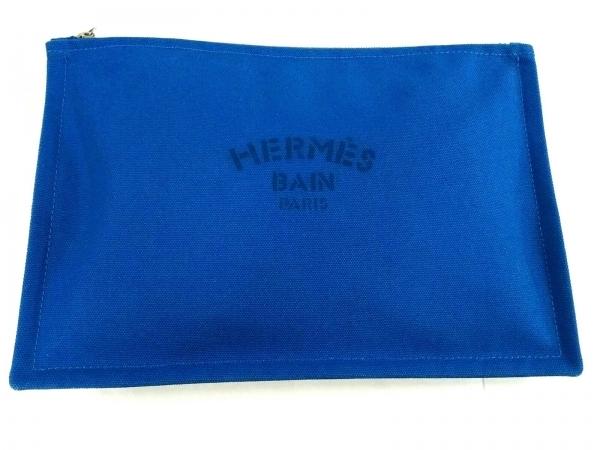 HERMES(エルメス) ポーチ美品  トゥルースフラットGM ブルー キャンバス