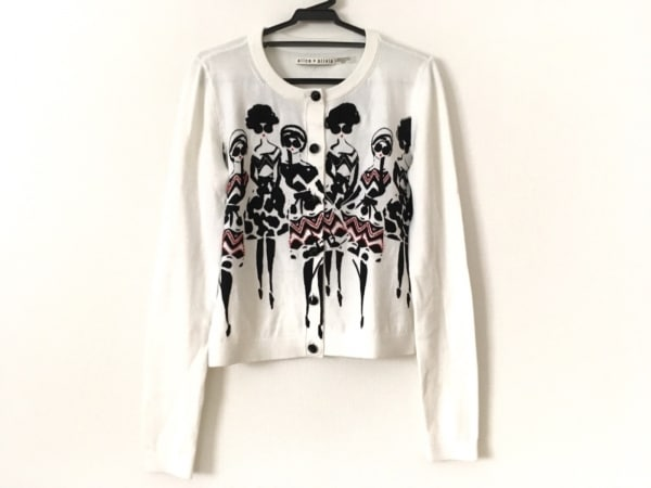 アリスオリビア カーディガン サイズXS レディース美品  白×黒×レッド 刺繍/ビーズ