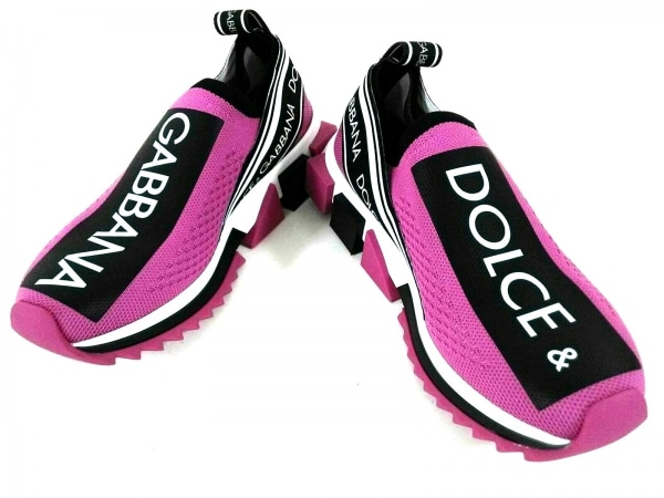 ドルチェアンドガッバーナ スニーカー 35 レディース新品同様  ピンク×黒×白