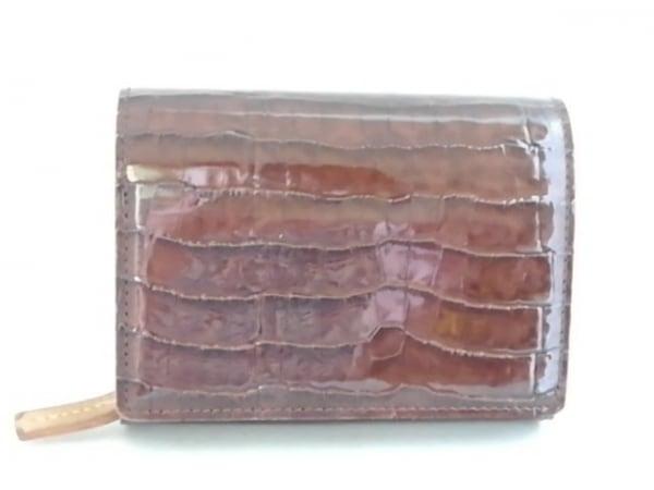Hamano(ハマノ) 2つ折り財布 ダークブラウン 型押し加工 エナメル(レザー)