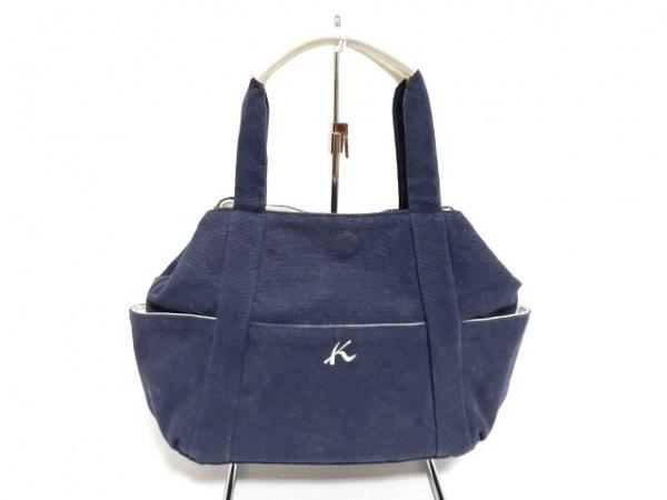 KITAMURA(キタムラ) ハンドバッグ ネイビー×白 キャンバス×レザー