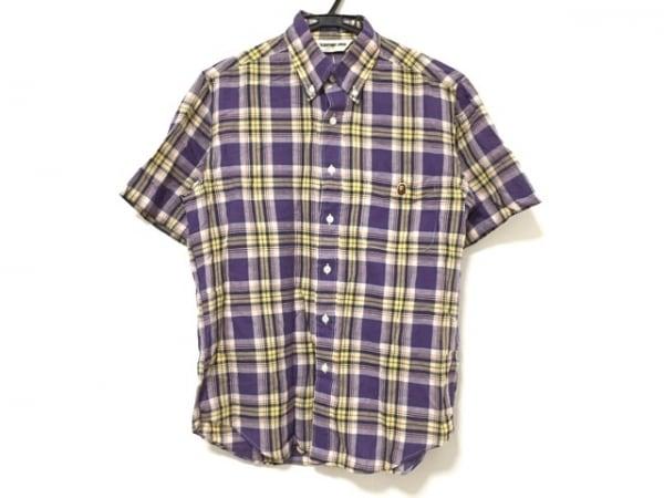 ア ベイシング エイプ 半袖シャツ サイズS メンズ パープル×イエロー×マルチ