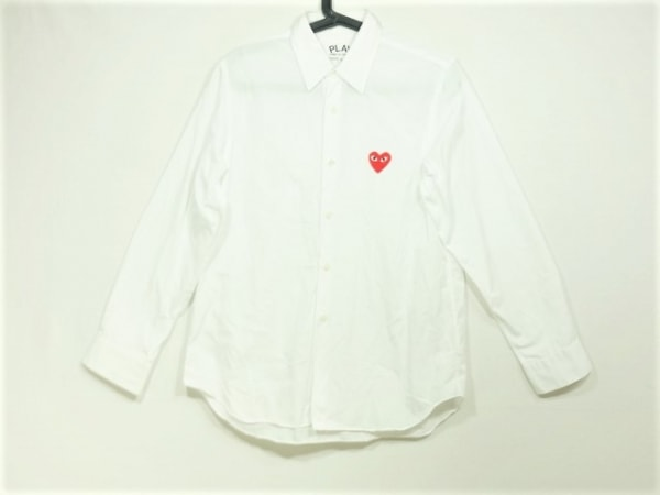 PLAY COMMEdesGARCONS(プレイコムデギャルソン) 長袖シャツ サイズS メンズ 白