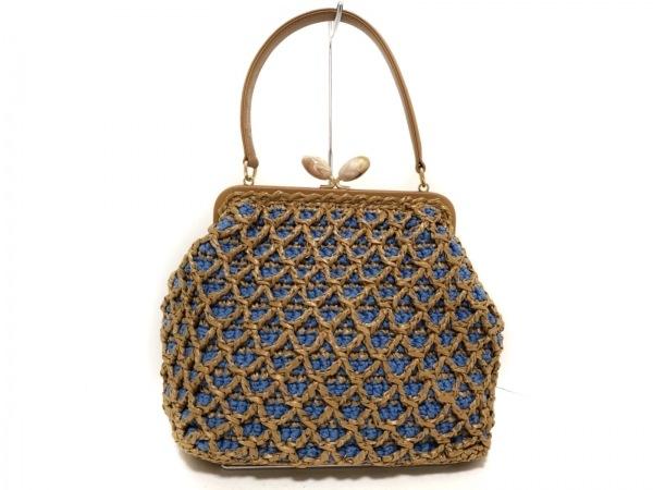 capaf(カバフ) ハンドバッグ美品  ブルー×ブラウン がま口 化学繊維×レザー
