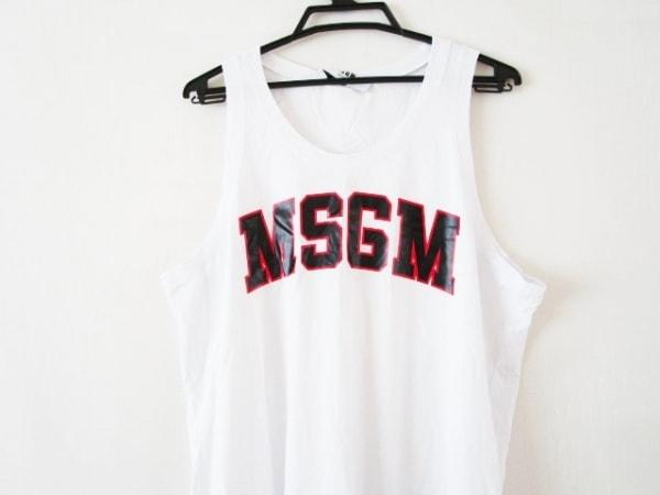 MSGM(エムエスジィエム) ワンピース サイズM レディース美品  白×黒×レッド