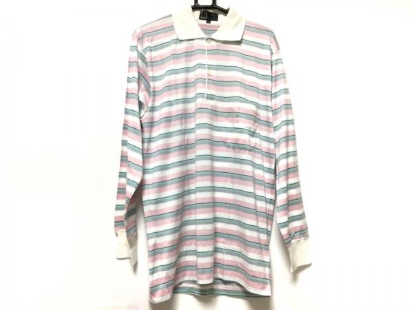 ダンヒル 長袖ポロシャツ メンズ 白×ピンク×マルチ ボーダー