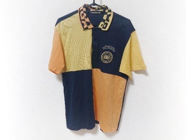 バレンシアガライセンス 半袖ポロシャツ サイズLL メンズ 黒×イエロー×オレンジ