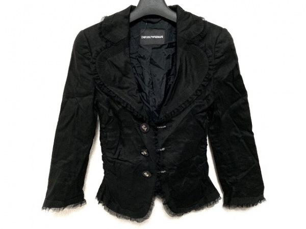 EMPORIOARMANI(エンポリオアルマーニ) ジャケット サイズ38 S レディース 黒 フリル