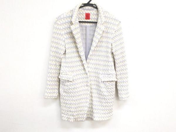 ハート ジャケット サイズ2 M レディース美品  ライトグレー×白×ベージュ 春・秋物