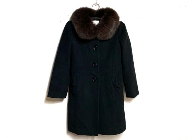 ボンメルスリー コート サイズ38 M レディース 黒×ダークブラウン ファー/冬物