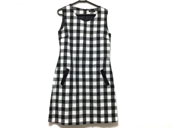 CHERRY ANN(チェリーアン) ワンピース レディース 黒×白 チェック柄/ノースリーブ