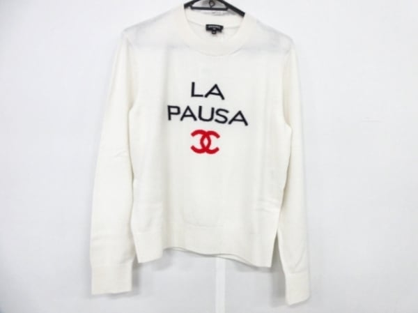 シャネル 長袖セーター サイズ40 M レディース美品  P60439 アイボリー×黒×レッド