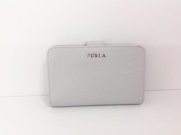 FURLA(フルラ) 2つ折り財布 ライトグレー L字ファスナー レザー