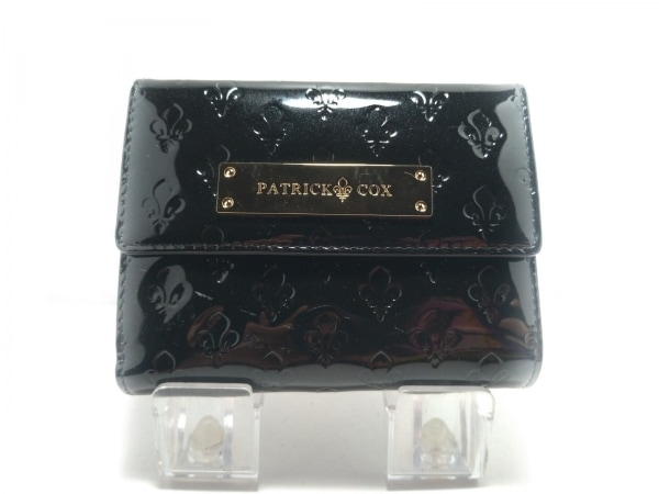 PATRICK COX(パトリックコックス) 3つ折り財布 黒 がま口 エナメル(レザー)
