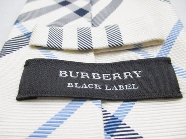 バーバリーブラックレーベル ネクタイ メンズ アイボリー×黒×ライトブルー