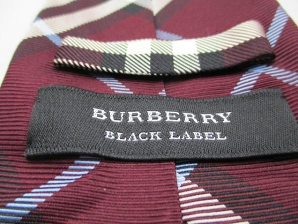 バーバリーブラックレーベル ネクタイ メンズ美品  ボルドー×黒×マルチ チェック柄