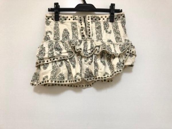イザベルマラン ミニスカート サイズ36 S レディース 白×グリーン×ピンク 花柄