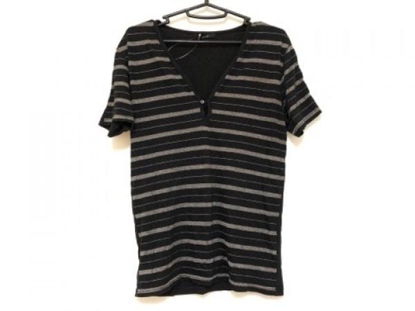 SHELLAC(シェラック) 半袖Tシャツ サイズ48 XL メンズ 黒×ベージュ ボーダー
