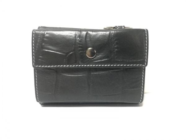 TAKEOKIKUCHI(タケオキクチ) 3つ折り財布美品  黒 型押し加工 レザー
