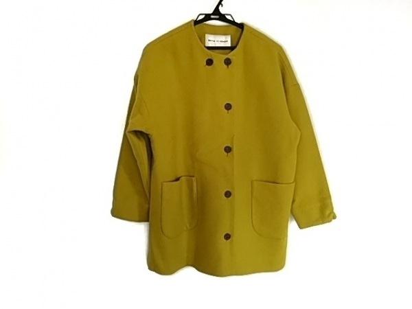ビュルデサボン コート サイズF  F レディース美品  ライトグリーン×イエロー 冬物