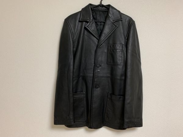 コムサコレクション ジャケット サイズ3 L メンズ 黒 ラムレザー