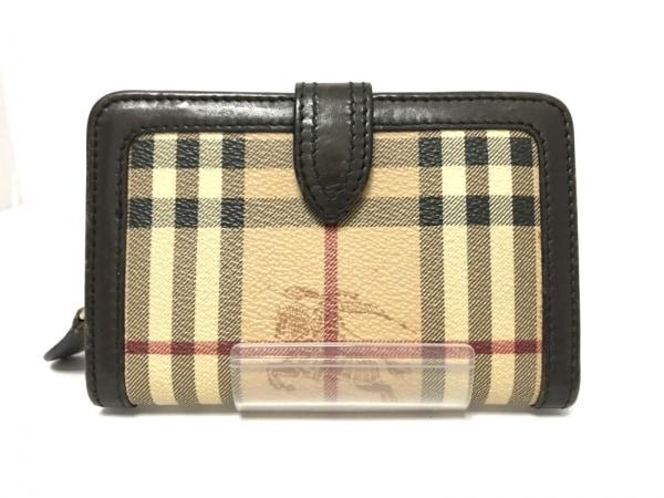 バーバリープローサム 2つ折り財布 ベージュ×黒×マルチ チェック柄