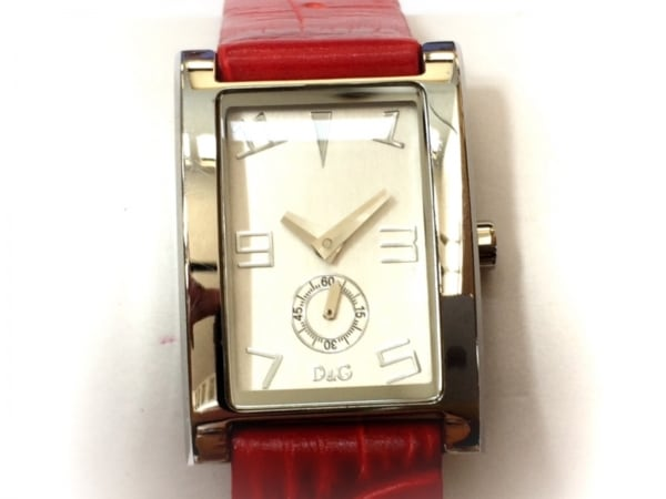 D&G(ディーアンドジー) 腕時計 - レディース 革ベルト/型押し加工 シルバー