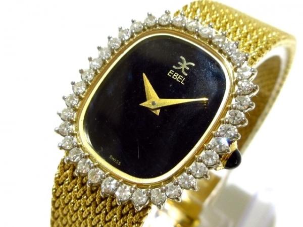 EBEL(エベル) 腕時計 - レディース 金無垢/18K/ダイヤベゼル/要OH 黒