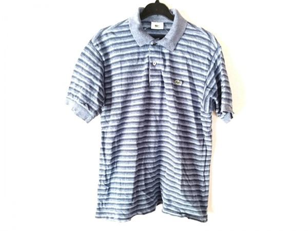 ラコステ 半袖ポロシャツ サイズ4 XL メンズ ネイビー×ライトブルー ボーダー