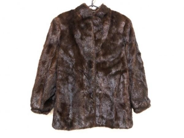 サガミンク コート サイズ6 M レディース美品  ダークブラウン ネーム刺繍あり